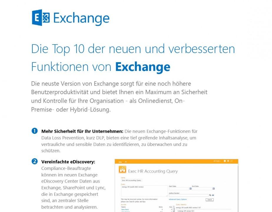 Top 10 Funktionen von Exchange