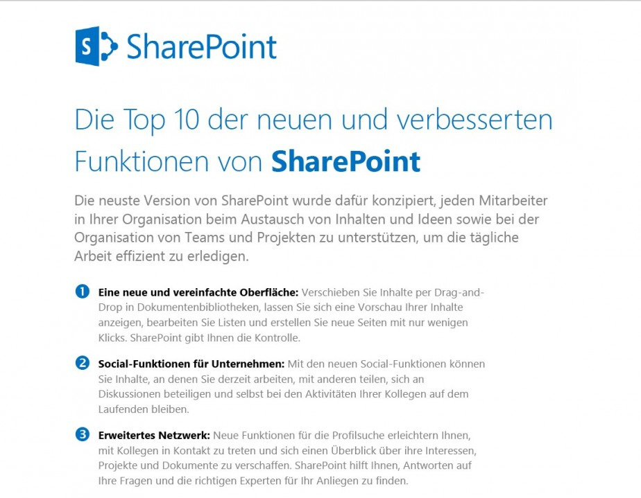 Top 10 Funktionen von SharePoint